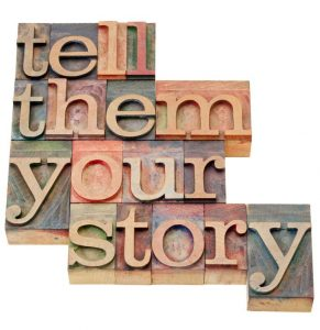 11474234 - tell them your story - advice in isolated vintage wood letterpress printing blocks